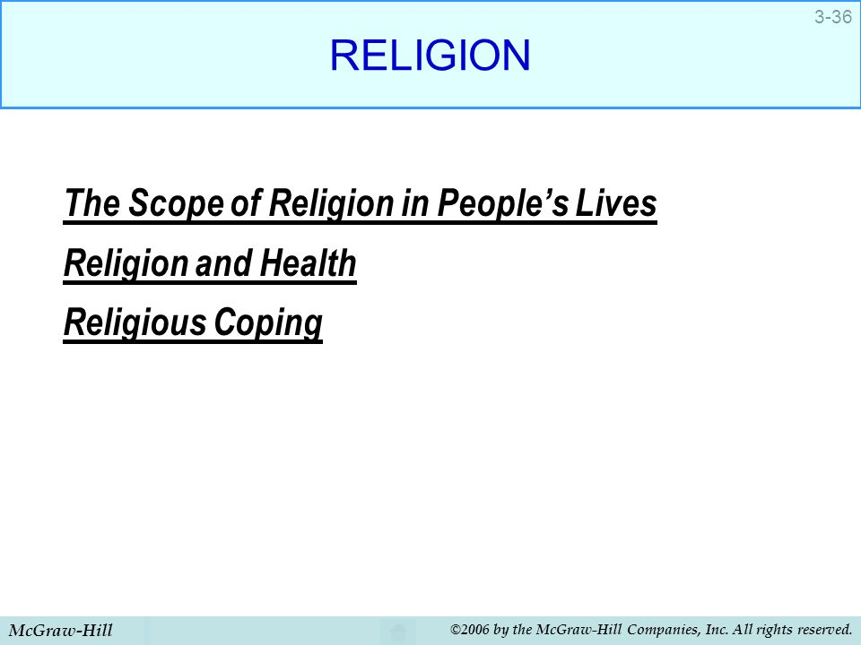 RELIGION The Scope of Religion in People's Lives Religion and Health