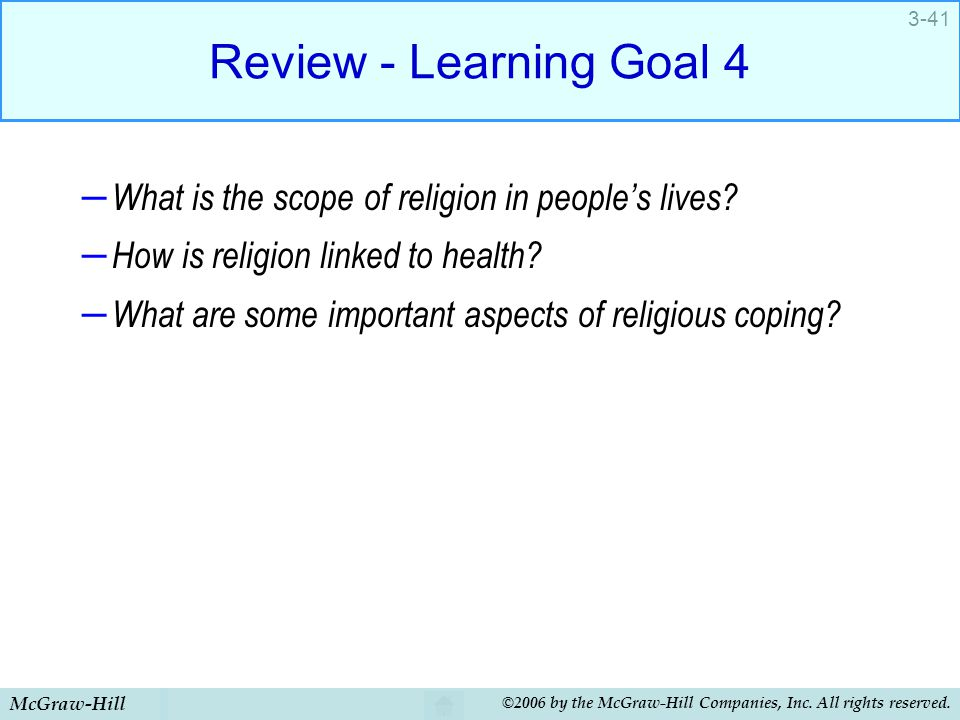 Review - Learning Goal 4 What is the scope of religion in people's lives How is religion linked to health