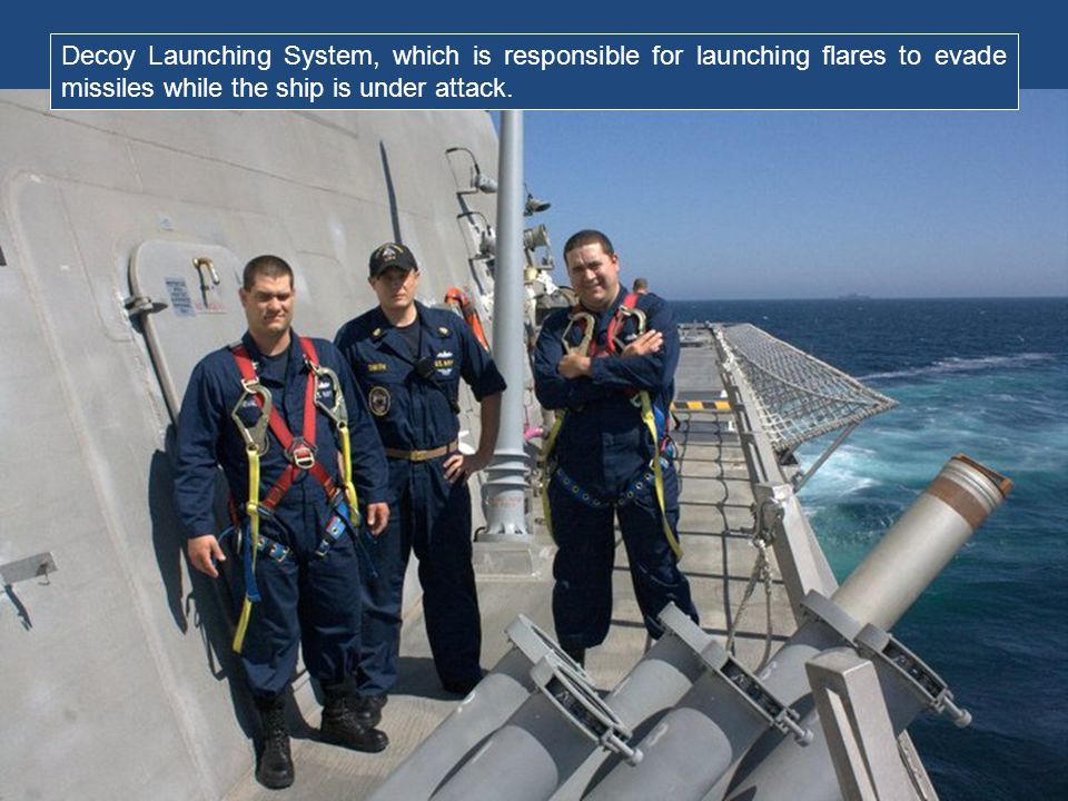 Decoy Launching System, which is responsible for launching flares to evade missiles while the ship is under attack.