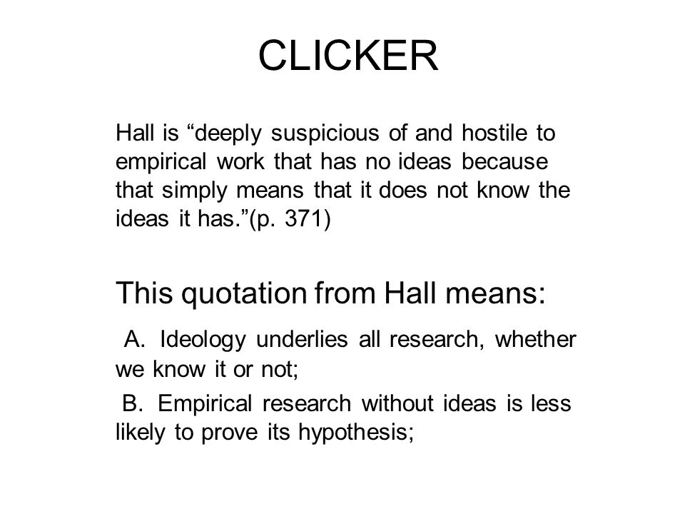 CLICKER This quotation from Hall means: