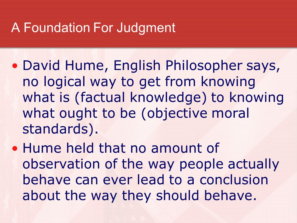 A Foundation For Judgment