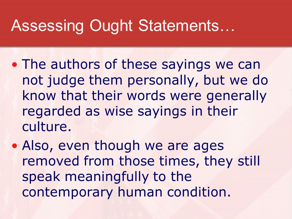 Assessing Ought Statements…