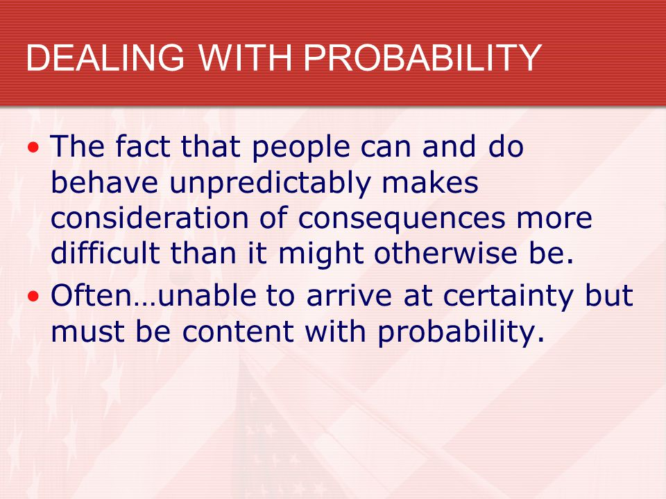 DEALING WITH PROBABILITY