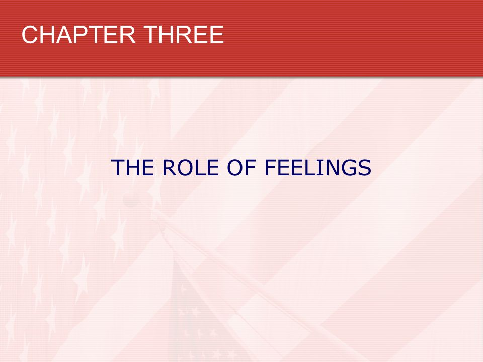 CHAPTER THREE THE ROLE OF FEELINGS