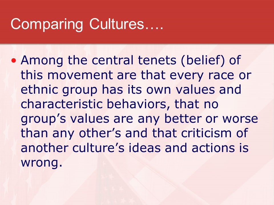 Comparing Cultures….