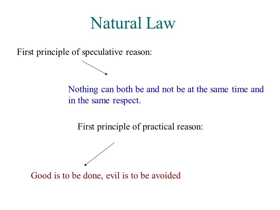 Natural Law First principle of speculative reason: