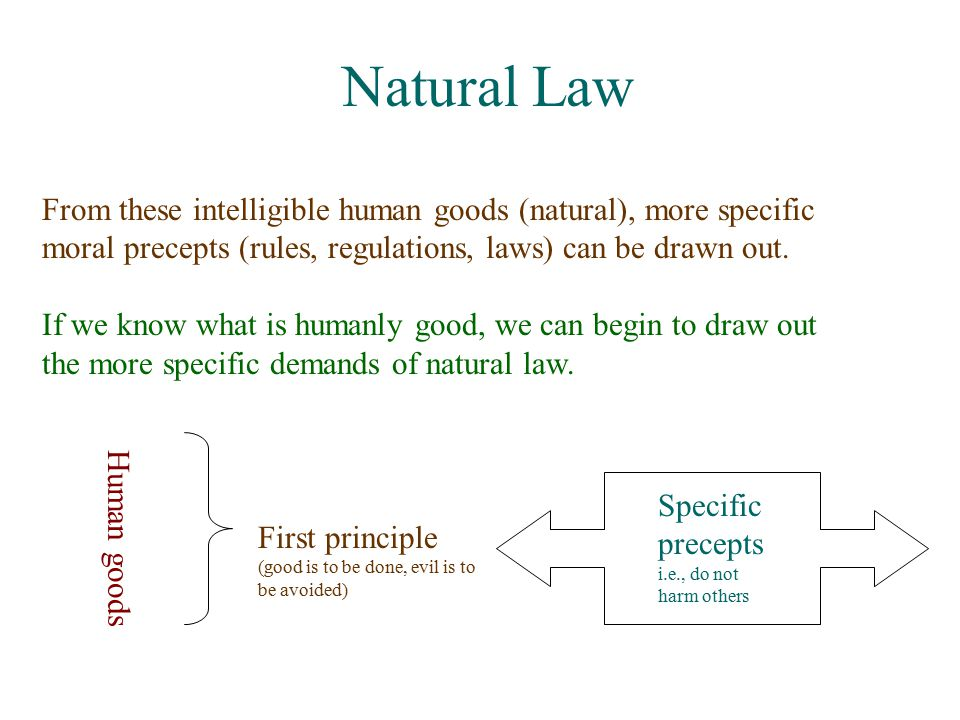 Natural Law From these intelligible human goods (natural), more specific moral precepts (rules, regulations, laws) can be drawn out.
