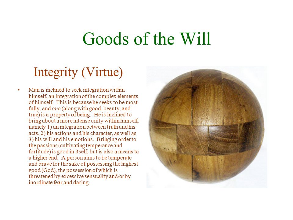 Goods of the Will Integrity (Virtue)