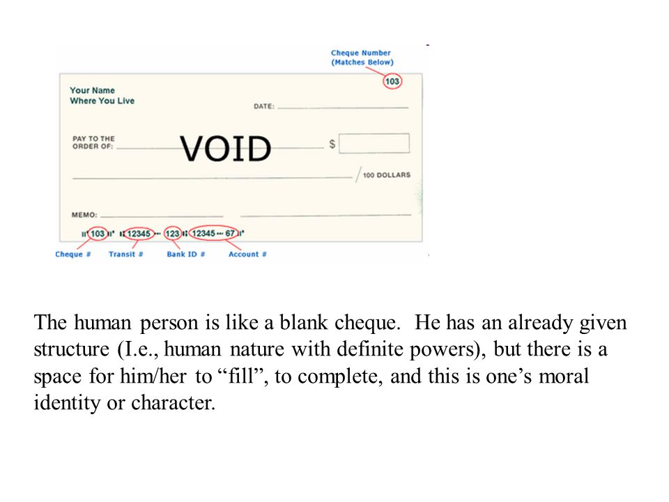 The human person is like a blank cheque