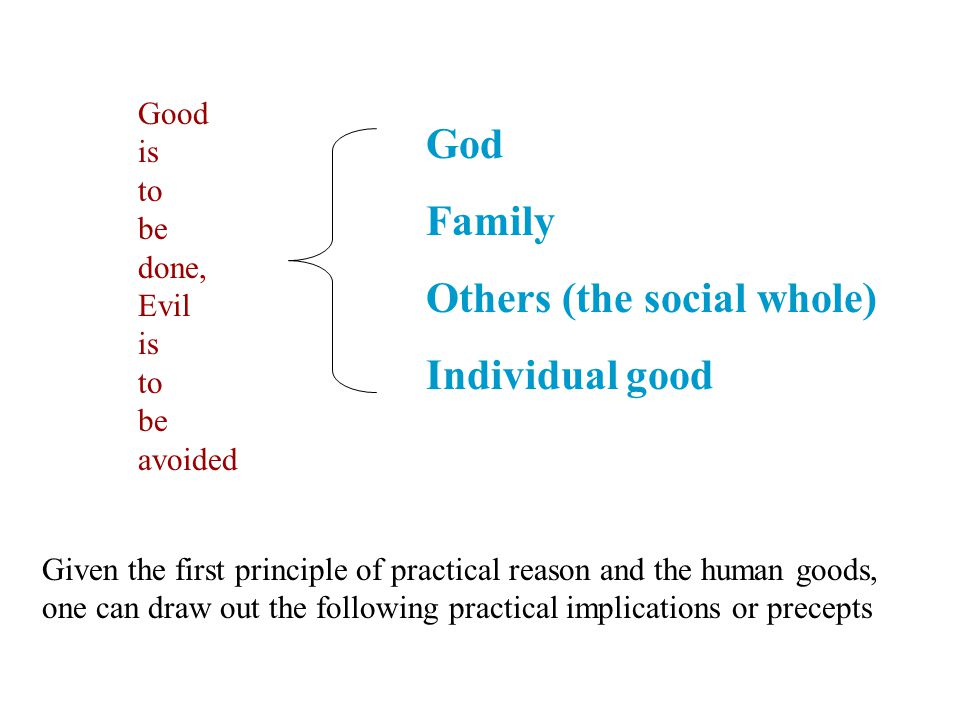 Others (the social whole) Individual good