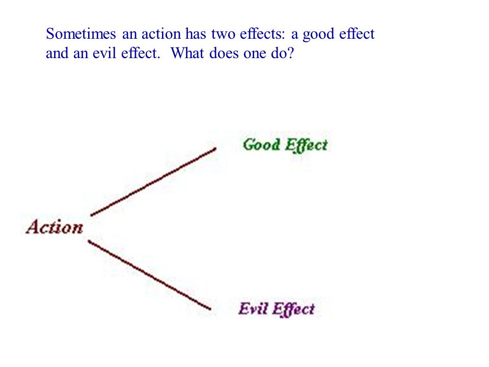 Sometimes an action has two effects: a good effect and an evil effect