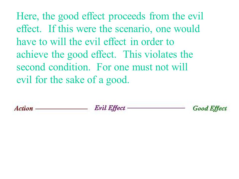 Here, the good effect proceeds from the evil effect