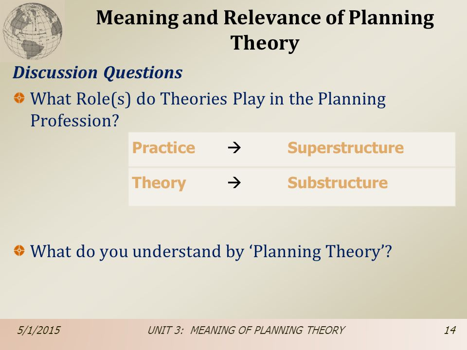 Meaning and Relevance of Planning Theory