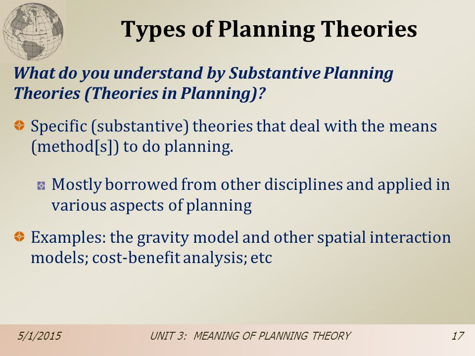 Types of Planning Theories