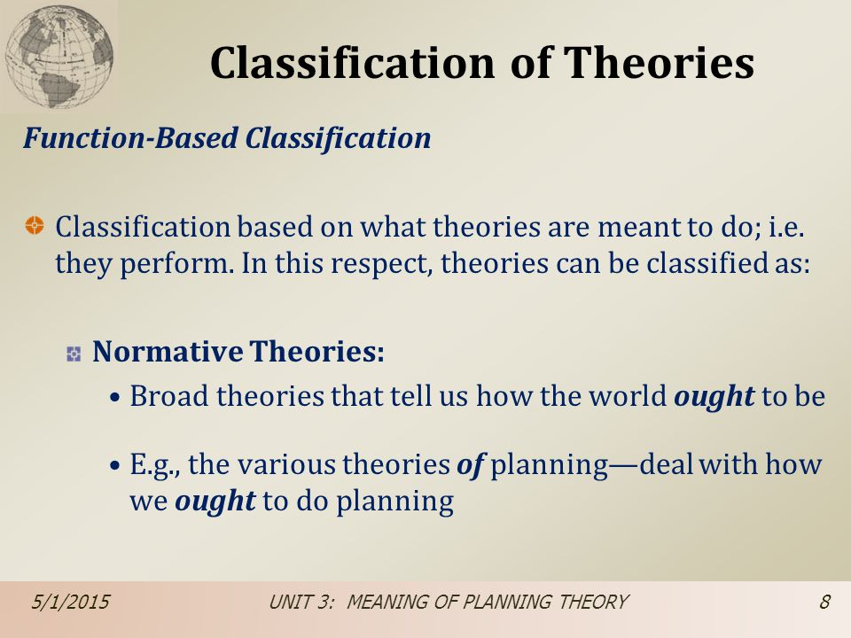 Classification of Theories