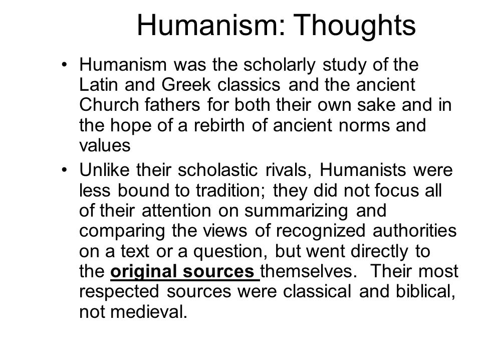 Humanism: Thoughts