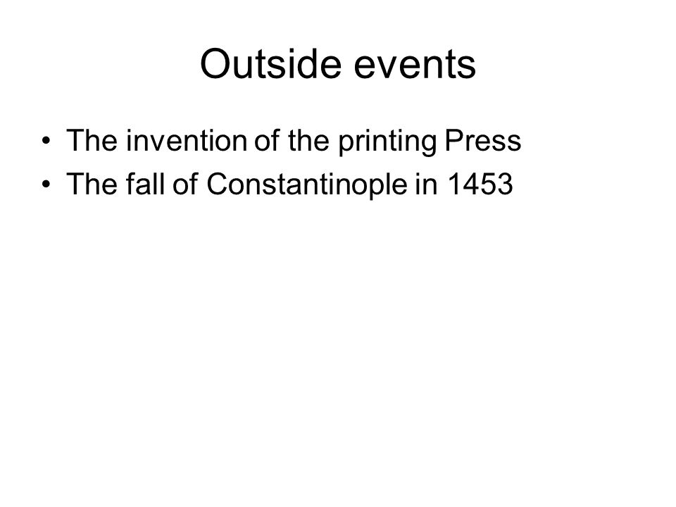 Outside events The invention of the printing Press