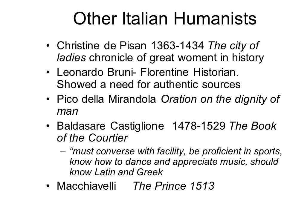 Other Italian Humanists