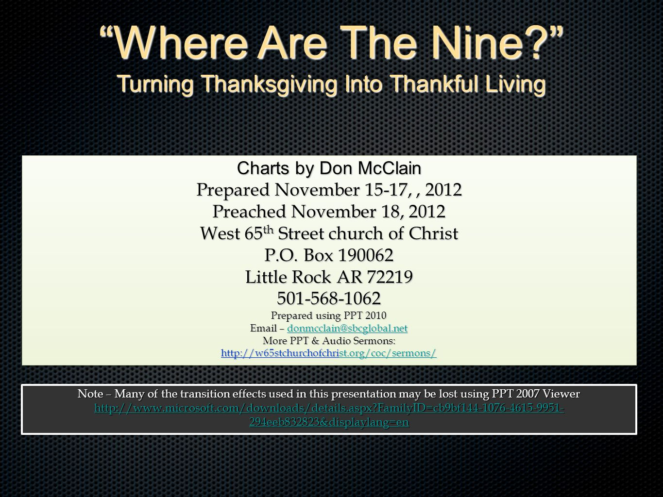 Where Are The Nine Turning Thanksgiving Into Thankful Living