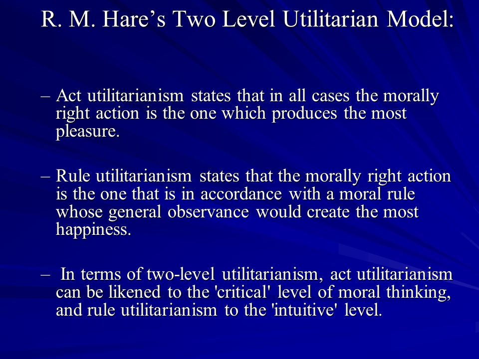 R. M. Hare's Two Level Utilitarian Model: