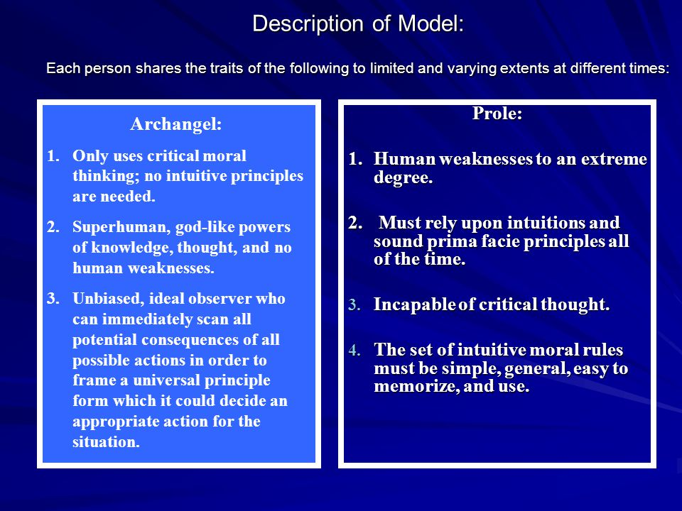 Description of Model: Each person shares the traits of the following to limited and varying extents at different times: