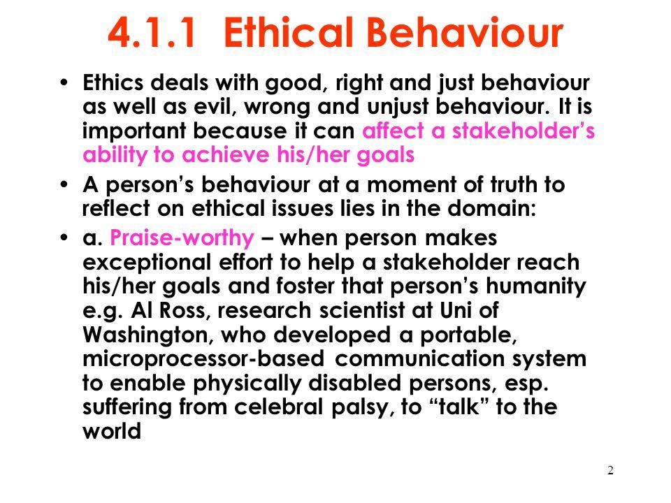 4.1.1 Ethical Behaviour
