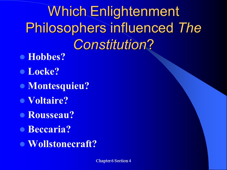 Which Enlightenment Philosophers influenced The Constitution