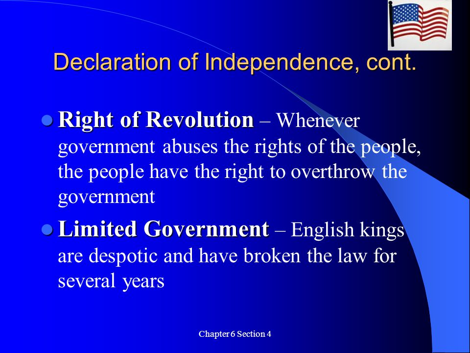 Declaration of Independence, cont.