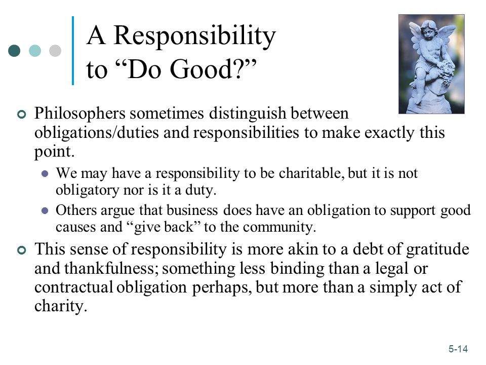 A Responsibility to Do Good
