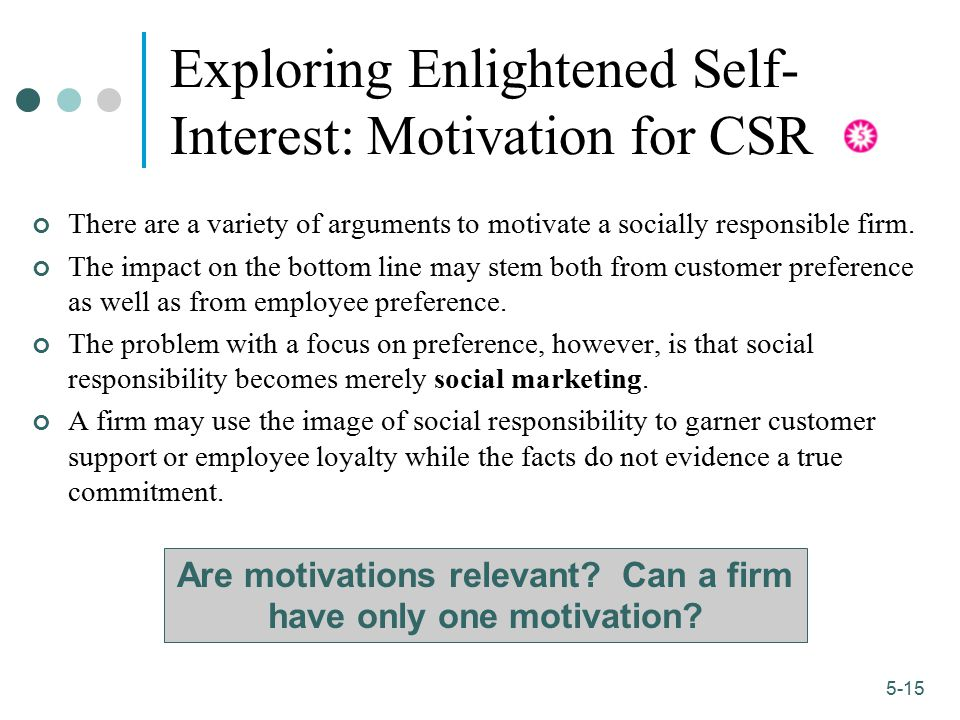 Exploring Enlightened Self-Interest: Motivation for CSR