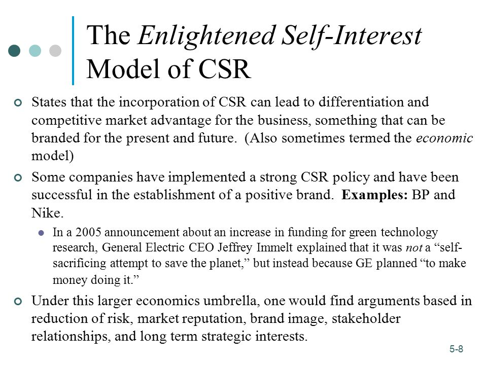 The Enlightened Self-Interest Model of CSR