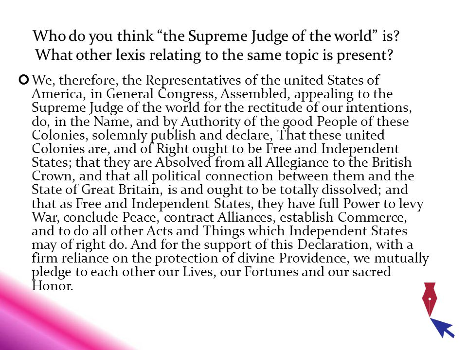 Who do you think the Supreme Judge of the world is