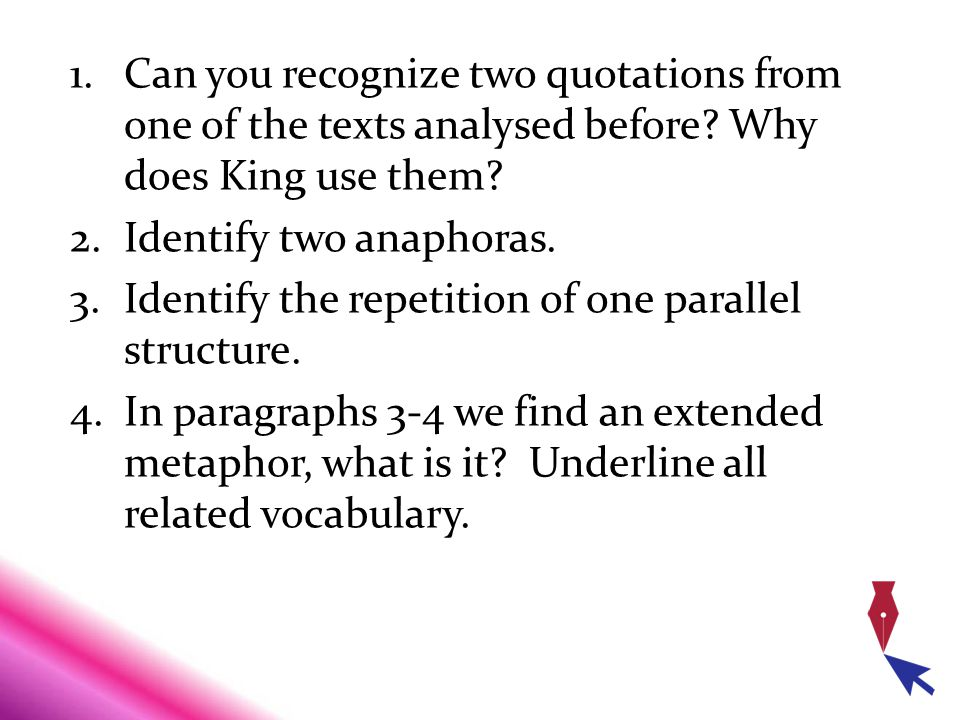 Can you recognize two quotations from one of the texts analysed before