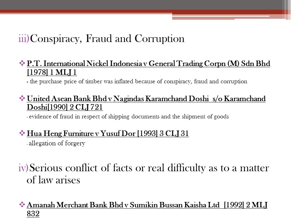 Conspiracy, Fraud and Corruption