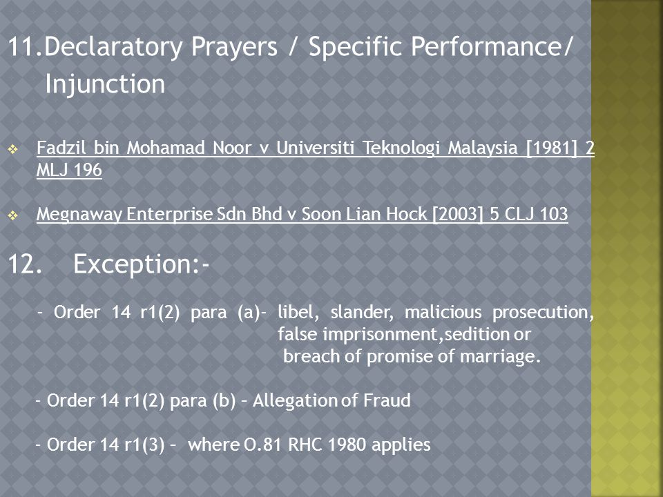 11.Declaratory Prayers / Specific Performance/ Injunction