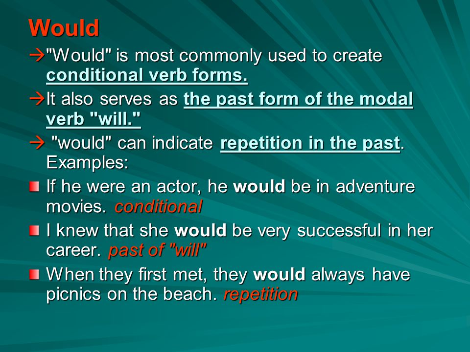 Would  Would is most commonly used to create conditional verb forms.