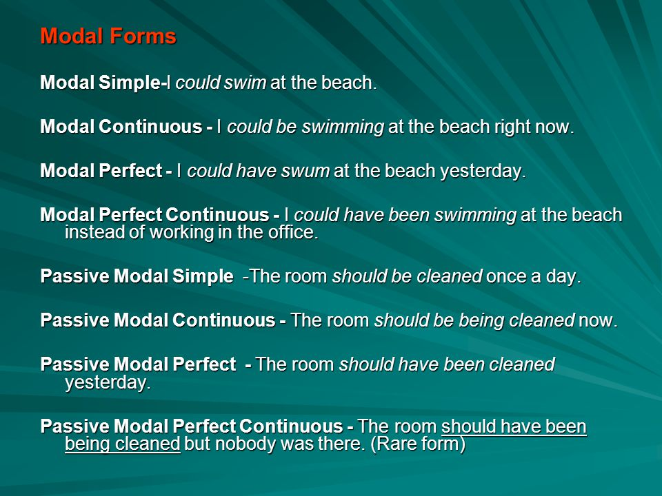 Modal Forms Modal Simple-I could swim at the beach.