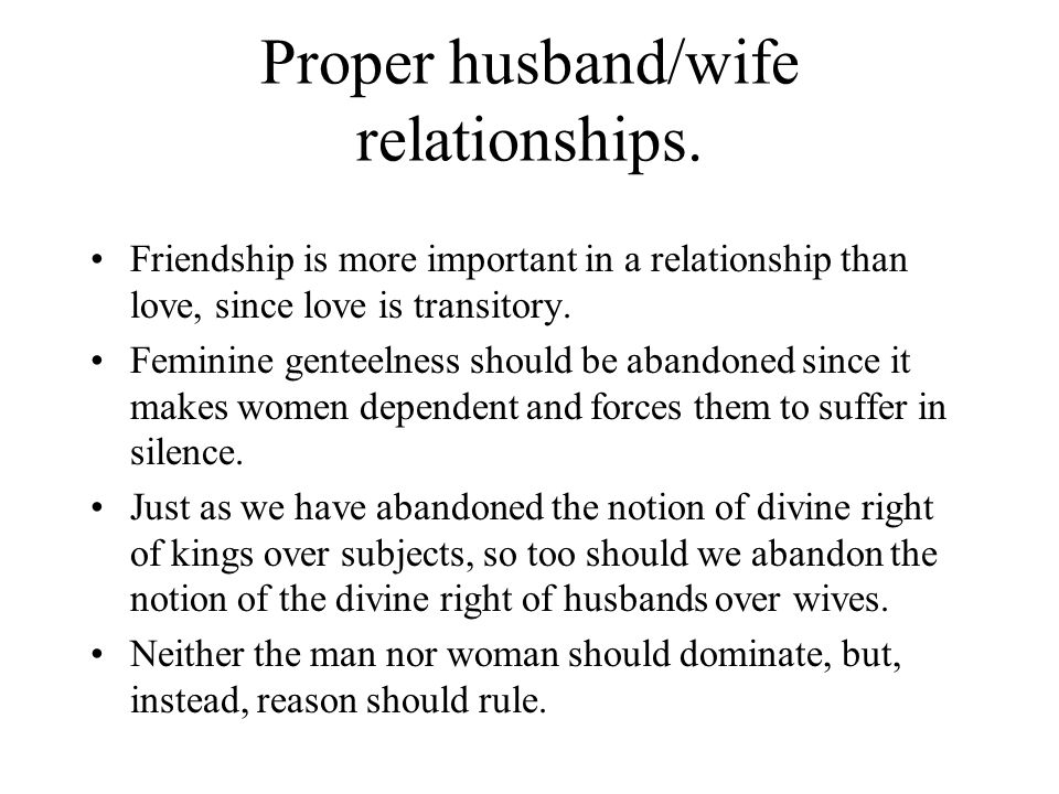 Proper husband/wife relationships.