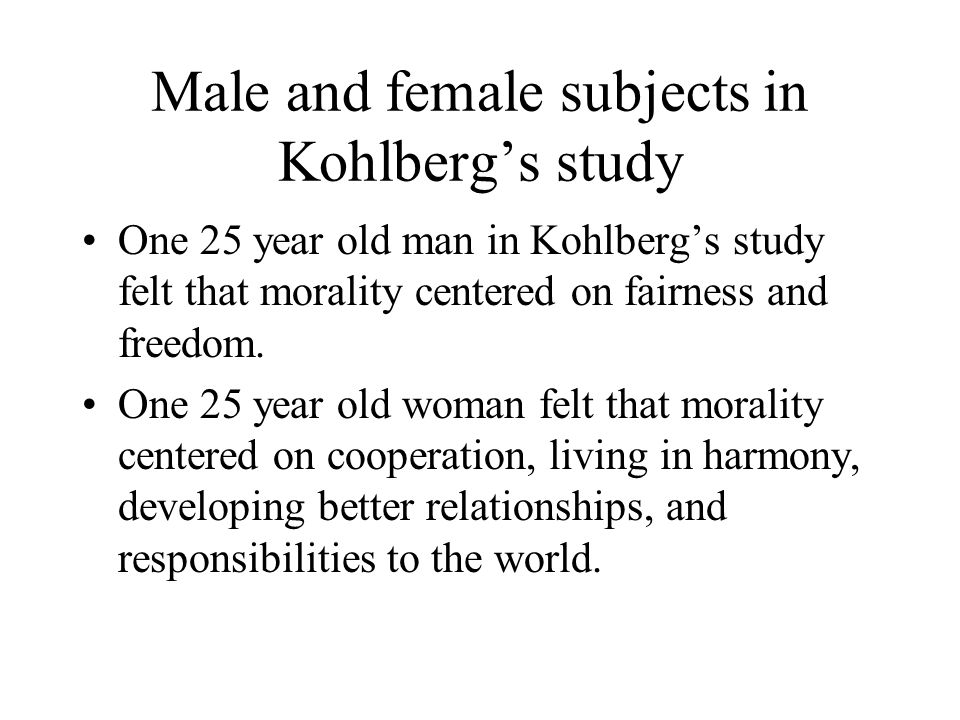 Male and female subjects in Kohlberg's study