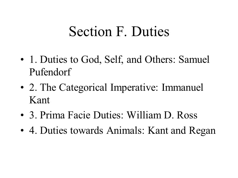 Section F. Duties 1. Duties to God, Self, and Others: Samuel Pufendorf