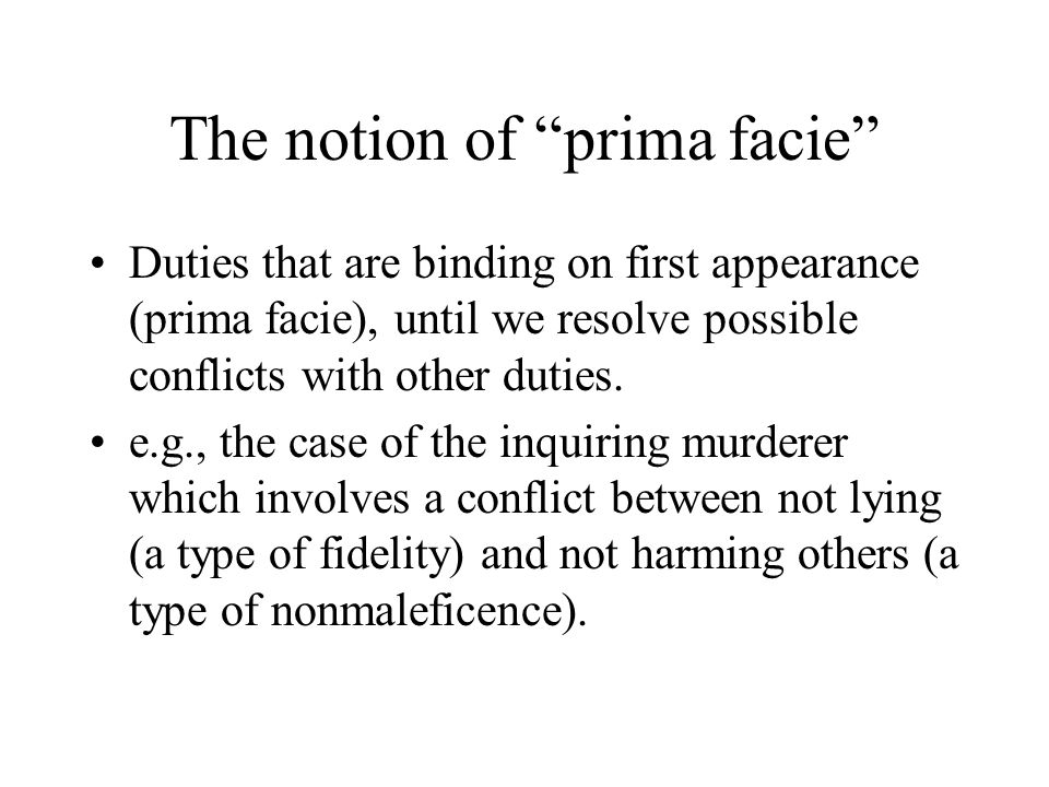 The notion of prima facie