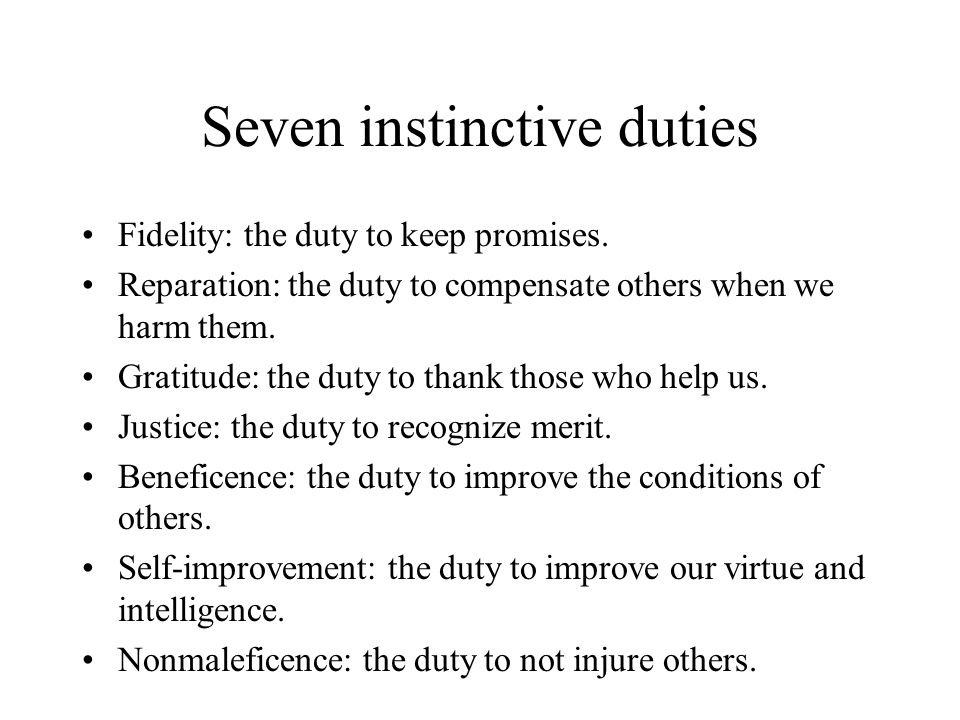 Seven instinctive duties