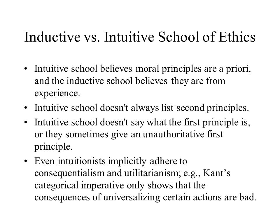 Inductive vs. Intuitive School of Ethics