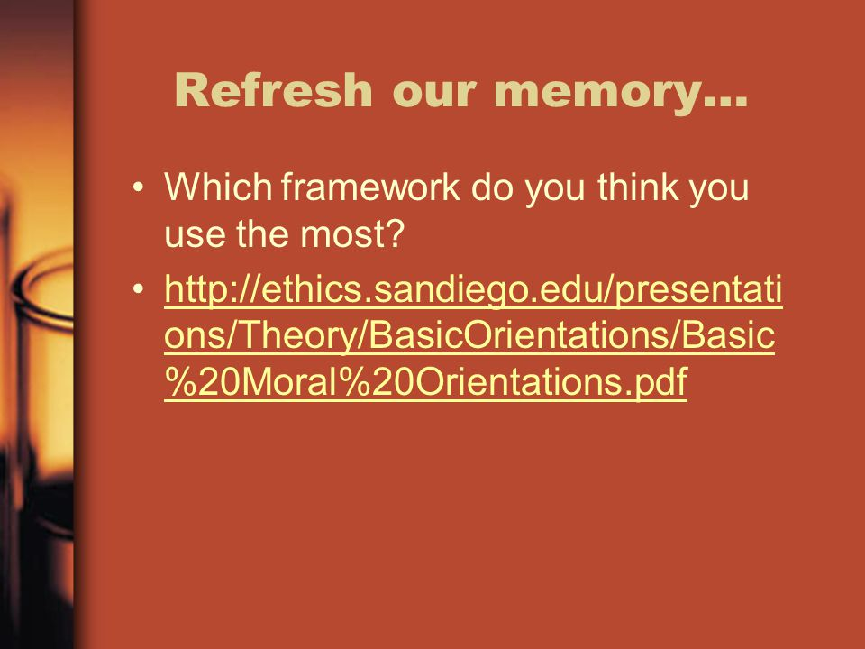 Refresh our memory… Which framework do you think you use the most