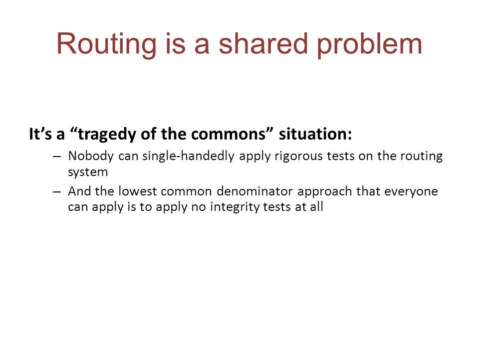 Routing is a shared problem