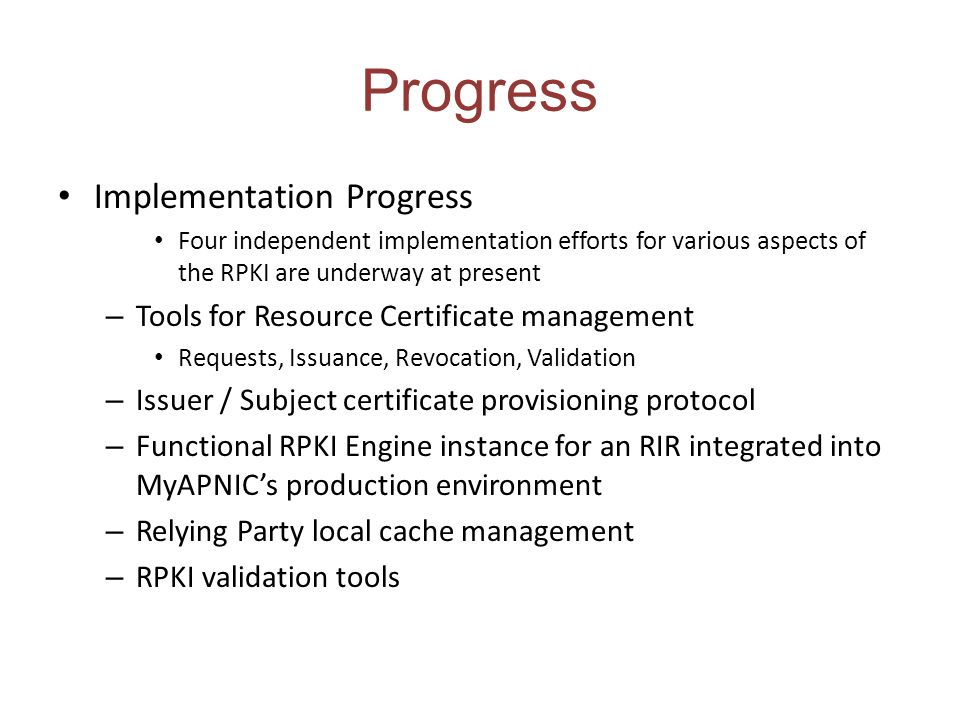 Progress Implementation Progress