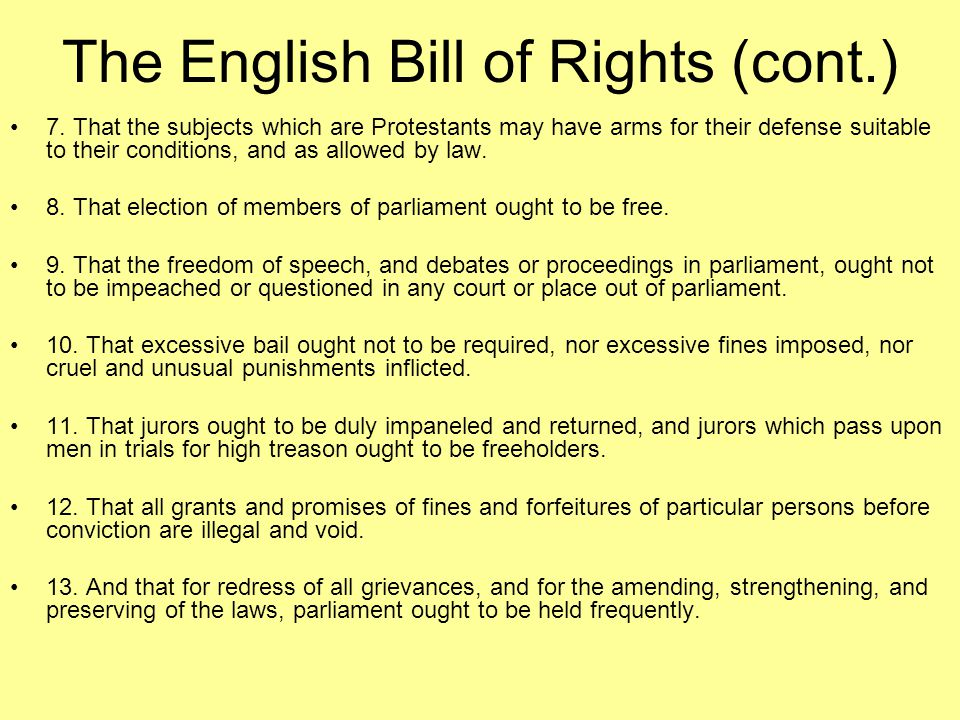 The English Bill of Rights (cont.)