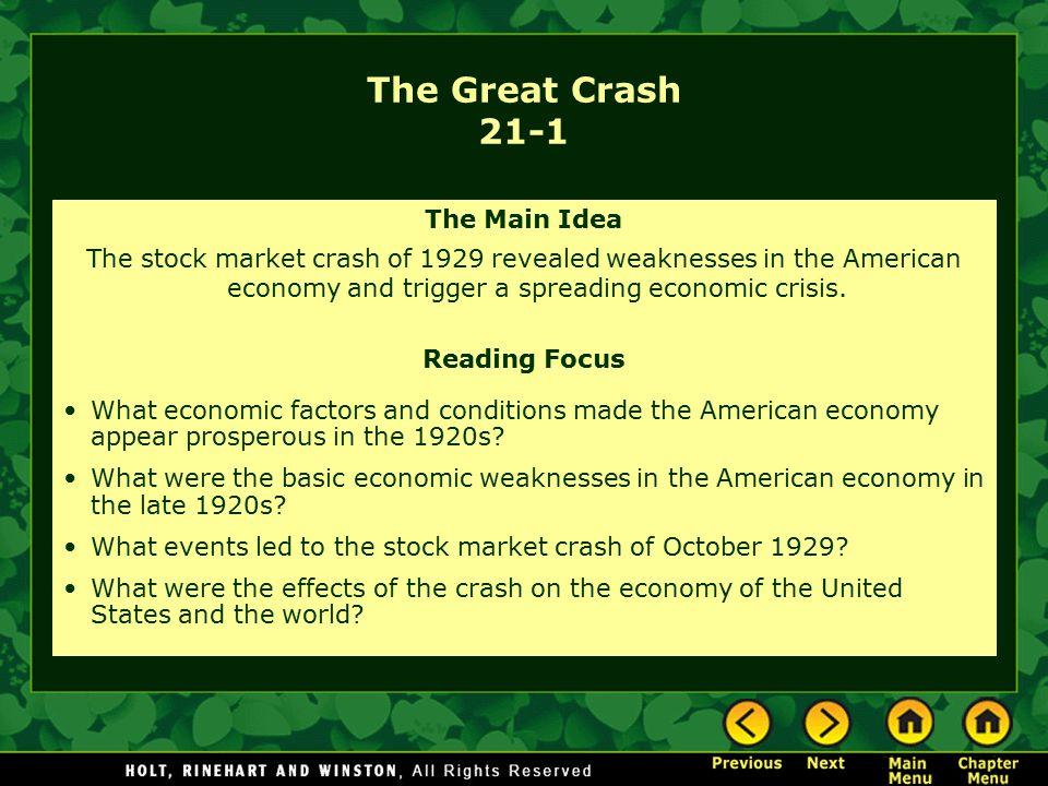The Great Crash 21-1 The Main Idea