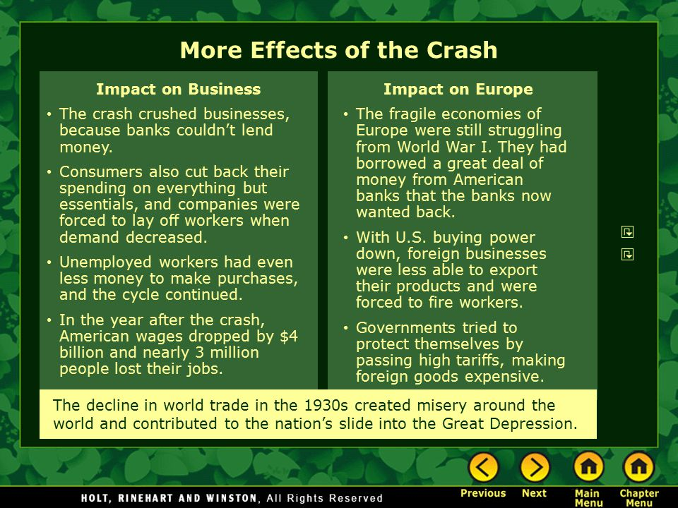 More Effects of the Crash