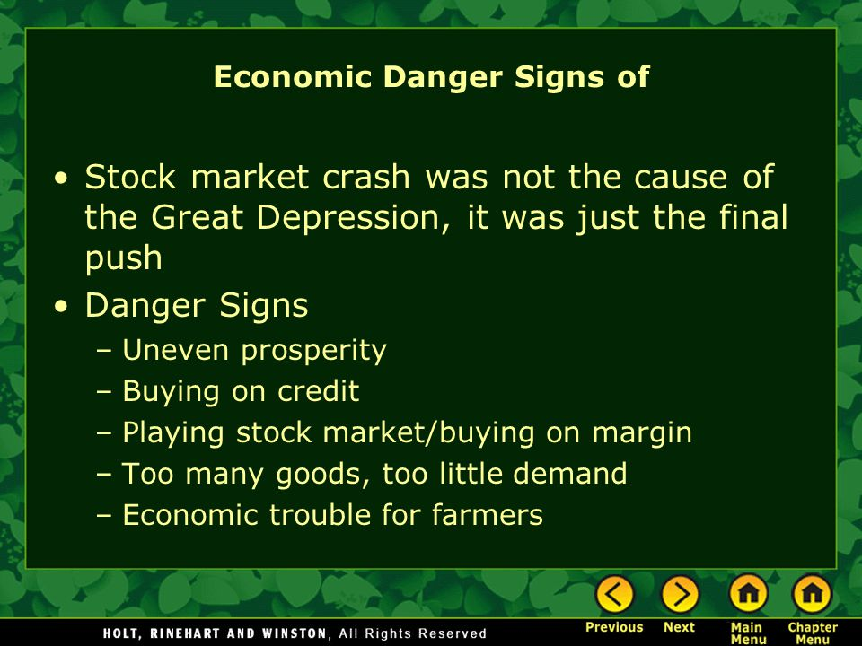 Economic Danger Signs of